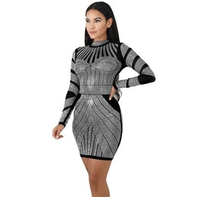 f3f328bd5ff Longsleeve Bedazzled Club Mini Dress Mini Club Dresses