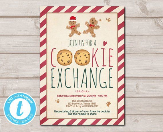 Holiday Cookie Exchange Invitation Christmas Party Invitation Cookie