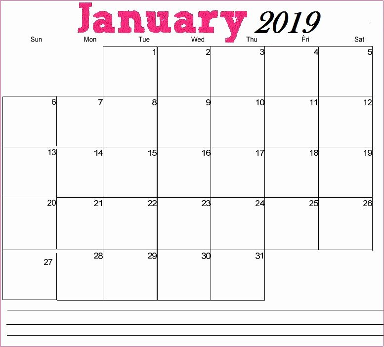 Editable Calendar January 2020 Template