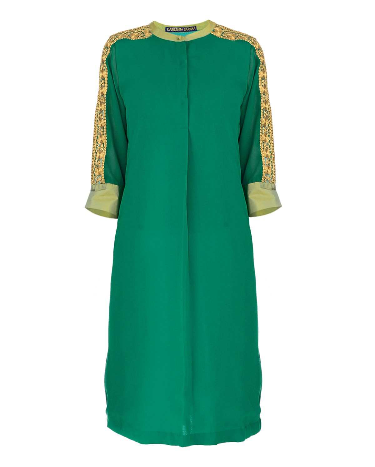 594e8157472 Emerald Green Tunic with Golden Thread Embroidery | Patterns | Green ...