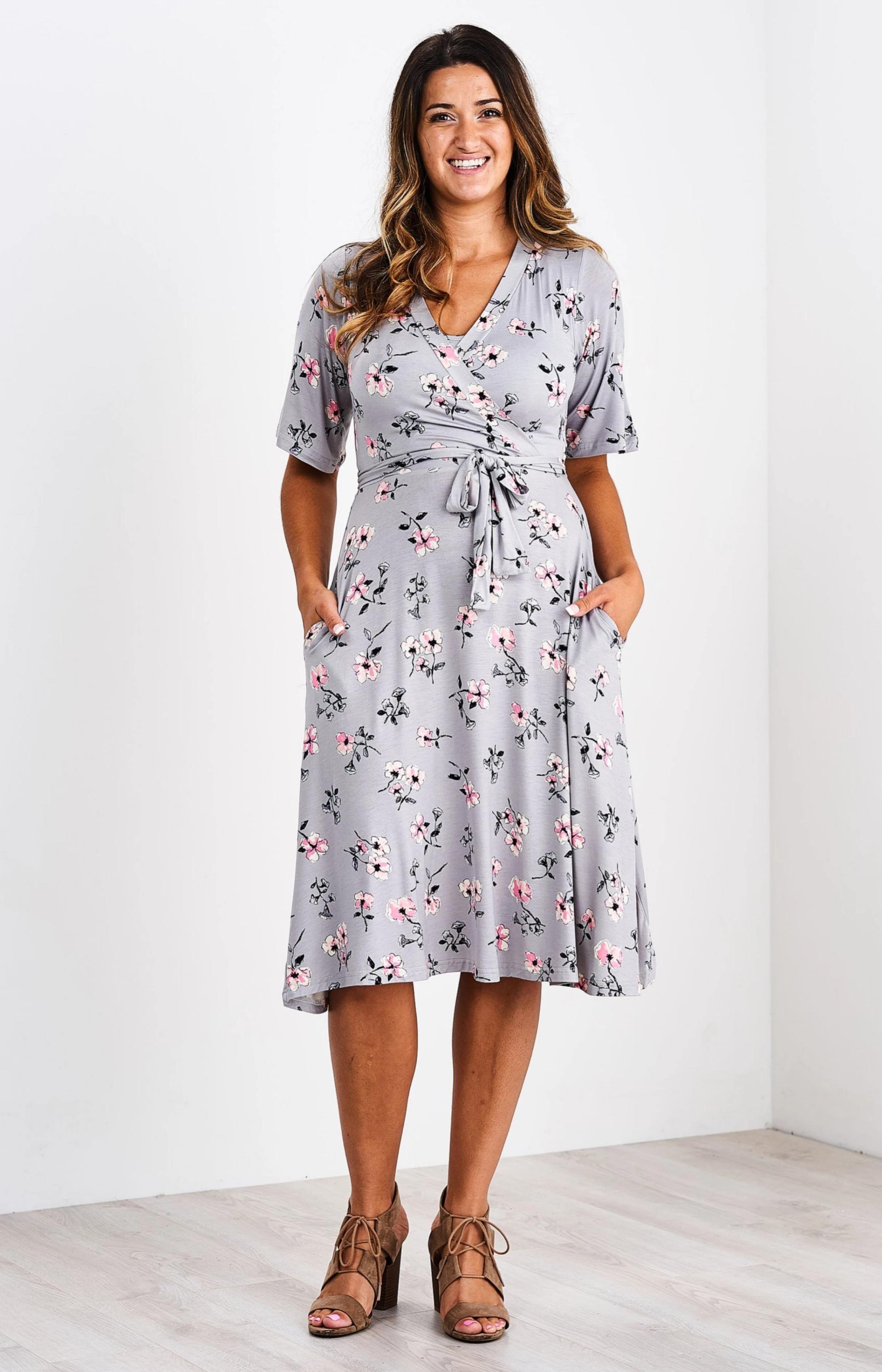 Latched Mama Nursing Midi Wrap Dress Midi Wrap Dress Wrap Dress Drawstring Dresses [ 3400 x 2185 Pixel ]