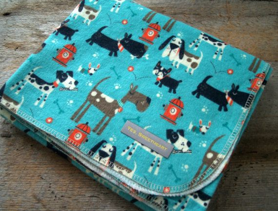 Extra Large Cute Dog Flannel Receiving Blanket by yeSweetheart