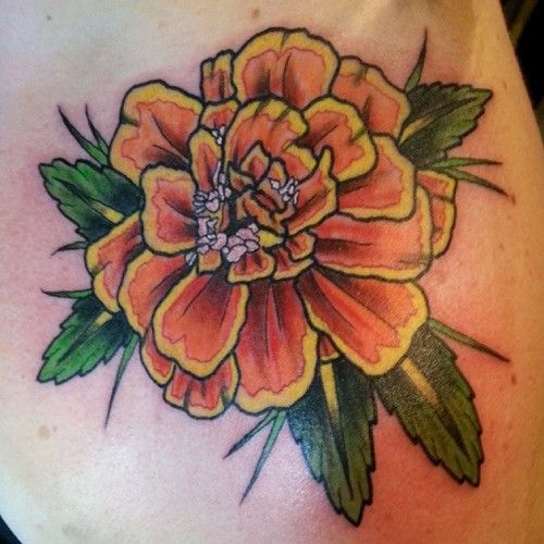 Marigold tattoo 02 tk d a de los muertos altar for Birth flower october tattoo