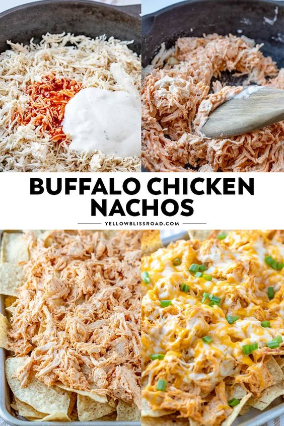 These Buffalo Chicken Nachos are so easy to make and are sure to be a crowdpleaser! #buffalochickennachos