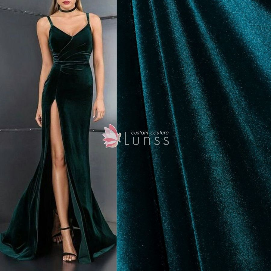 9154a0c20384 This high quality polyester teal green velvet fabric is distinguished by a  dense raised pile and decadent drape. It is soft and silky, and is often  used in ...
