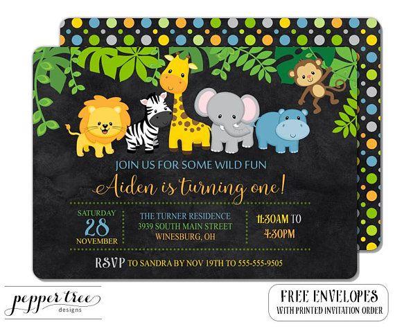 Safari Birthday Invitation For Black Background