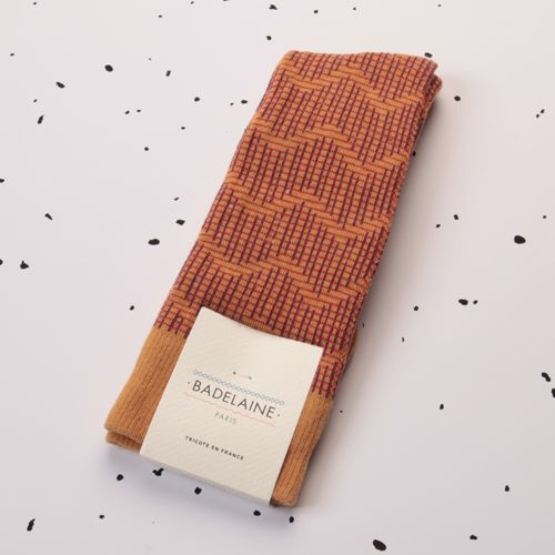 FW14 Bauxite socks - Ochre #badelaine #socks #chaussettes #paris #zigzag #graphic #ochre #honey #gingerbread #madeinfrance