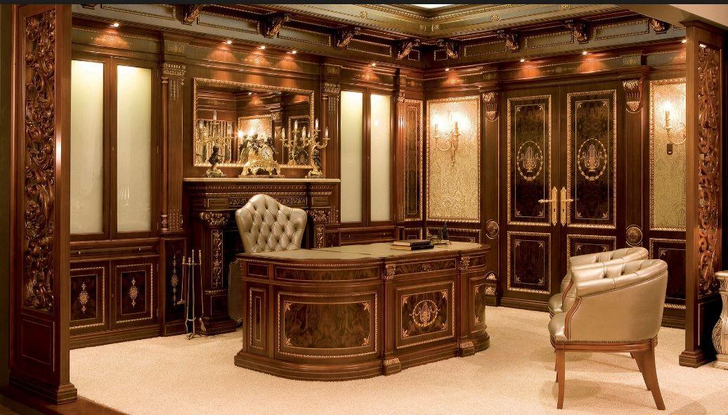 Despacho Lujoso En Madera De Raiz De Nogal Con Marquetería Con Las Paredes Paneladas Y Con Chimenea Luxury Office Law Office Decor Office Interior Design