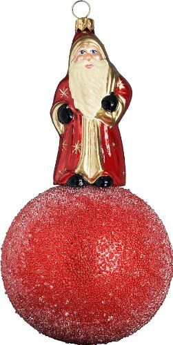 Ino Schaller Blown Glass Polish Red Kugel Santa Ornament by Joy to - polish christmas decorations