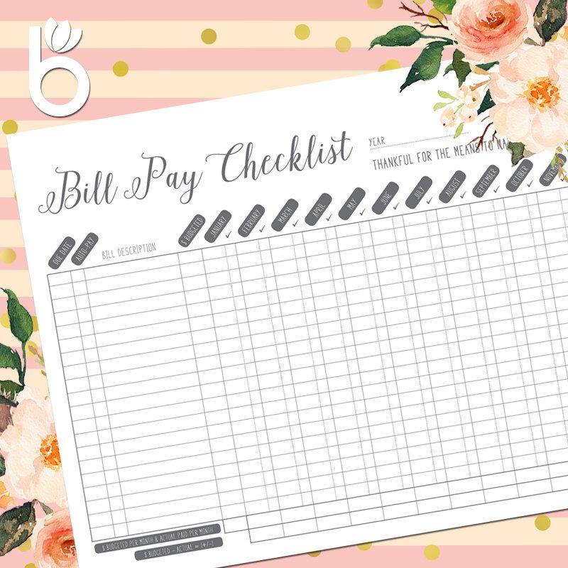 Bill Pay Tracker Bill Pay Checklist Bill Pay Monthly Bill
