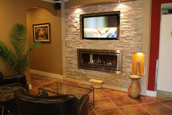 Gas Fireplace With Tv Above Recessed Tv Over Gas