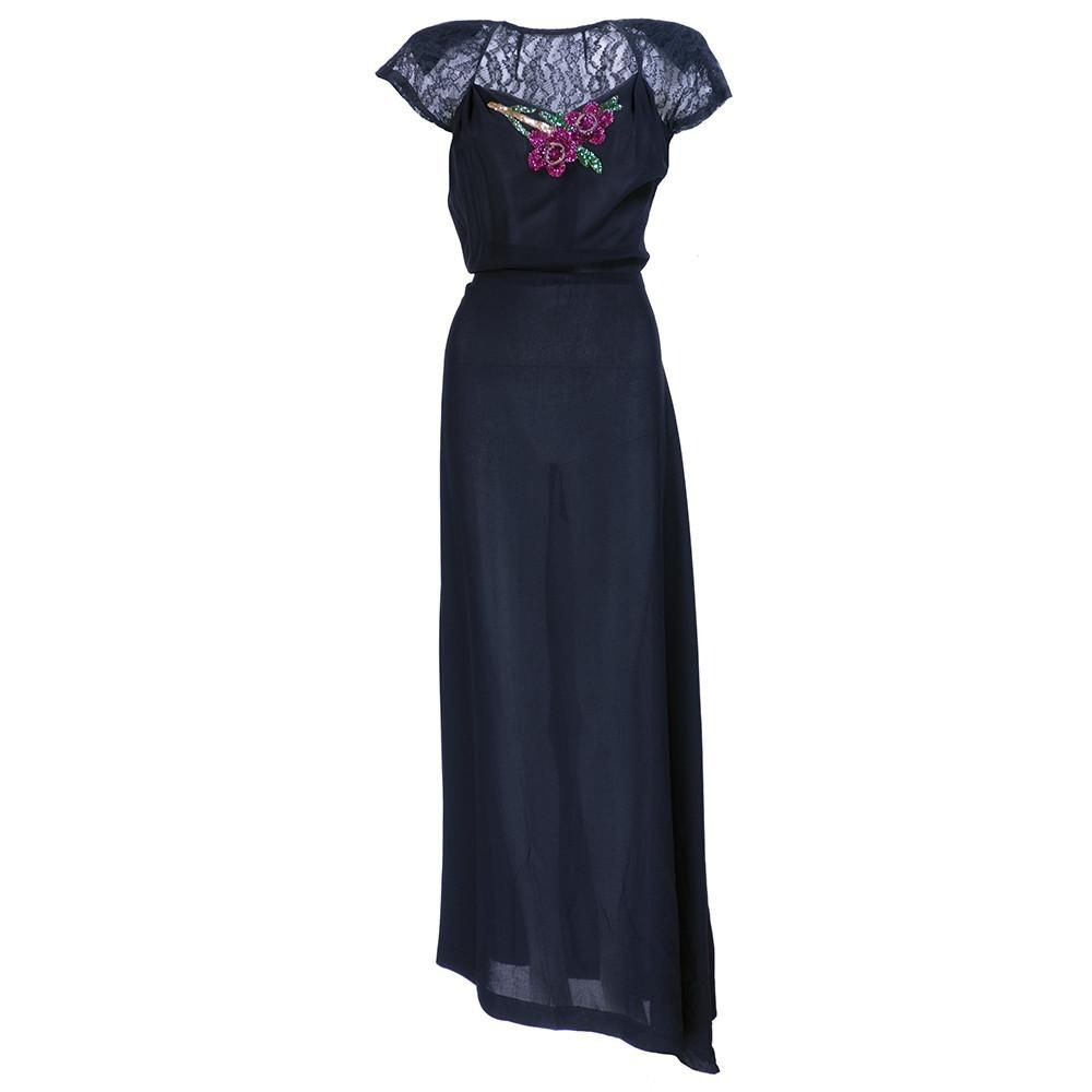 9c5a7d4ea66 Vintage 40s Sequin Applique Crepe Evening Gown – THE WAY WE WORE ...