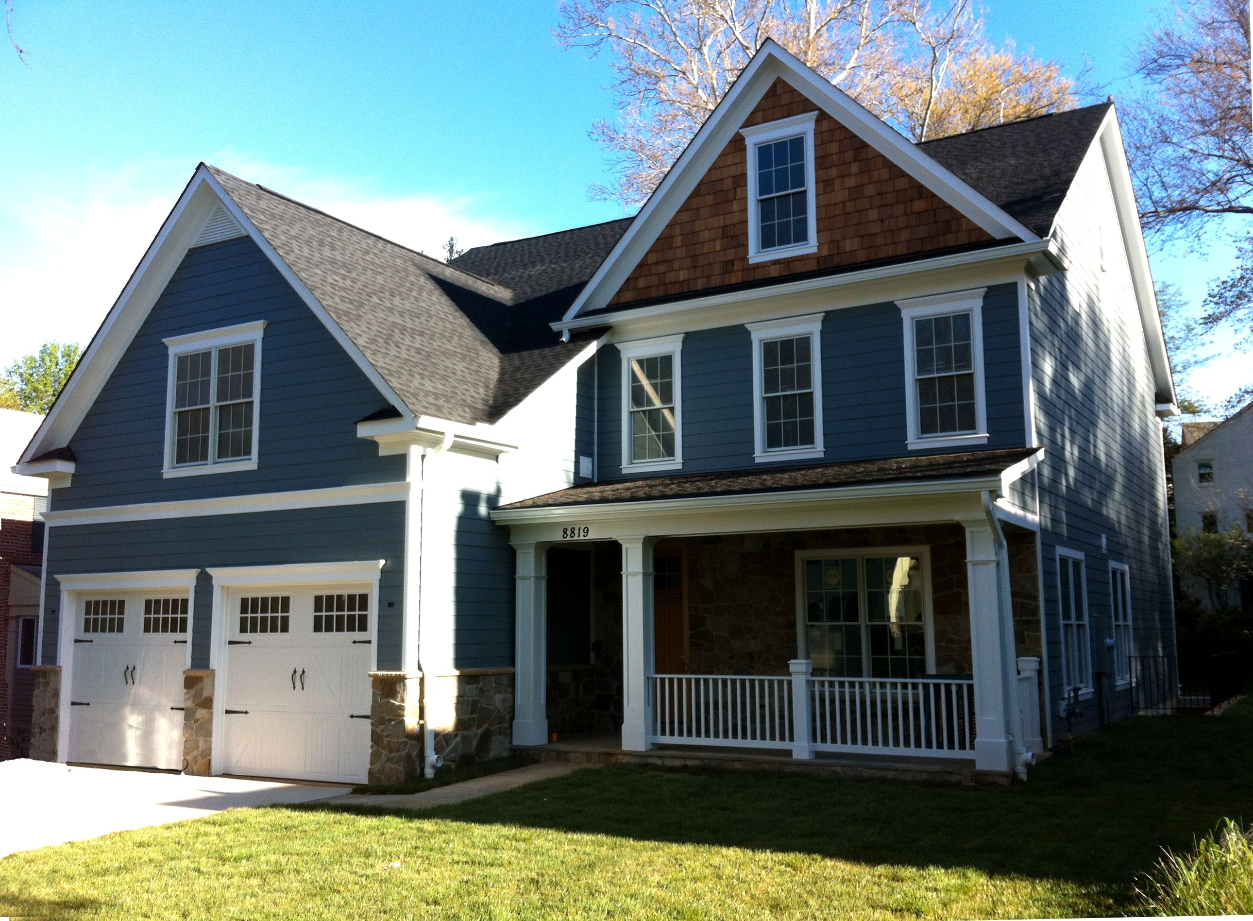 This Bethesda Home Features Har Plank Siding Falcon Mist Stone And Cedar Shake Accent In The Dormer