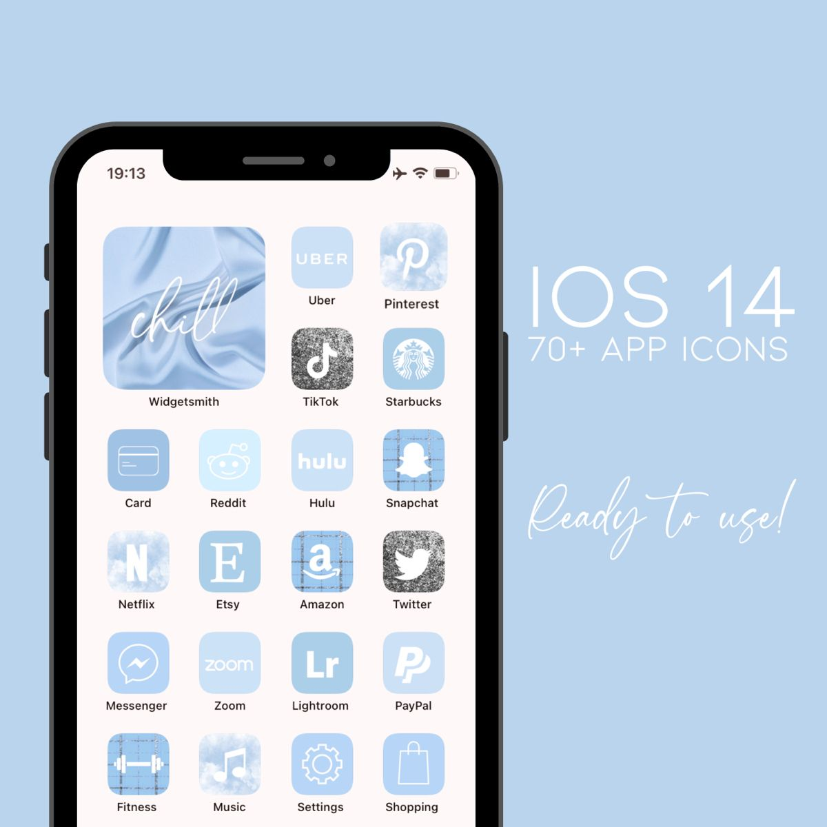 30 000 Ios 14 App Icons Sky Blue Custom Your Iphone Home Screen Widget With Words Aesthetic App Covers App Icon Homescreen Iphone App Covers