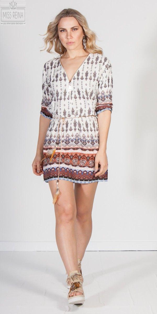 Εμπριμέ μίνι boho φόρεμα με φερμουάρ μπροστά  cc1d52a2562