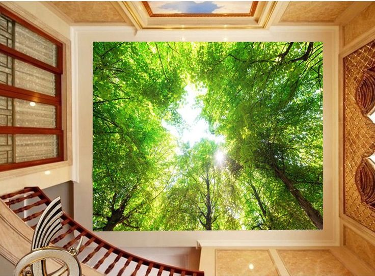 Custom Size Large Mural Ceiling Wallpaper 3d Stereoscopic Scenery Wallpaper  Green Forest Wall Paper For Home