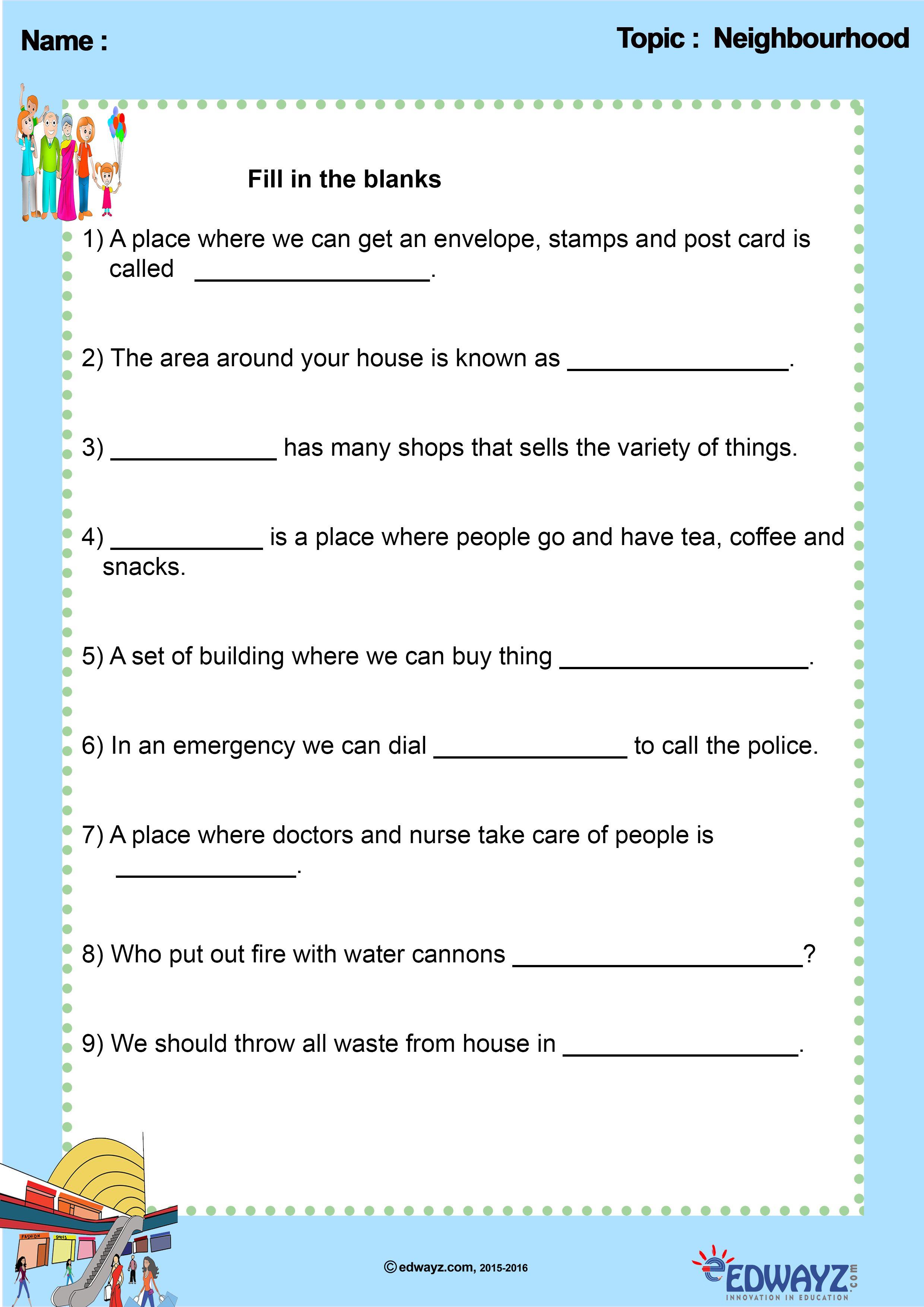 Edwayz Freeworksheets Class2 Evs Ourneighbourhood
