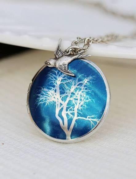 Something blue: Tree of Life Locket,Bird,Tree,Blue,Silver Locket,Locket,Tree,Silver Necklace,Photo Locket