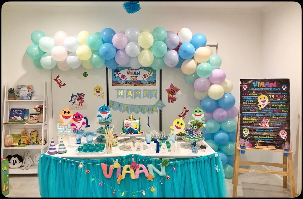 Baby shark theme 1st boy birthday, Boy birthday, Baby shark