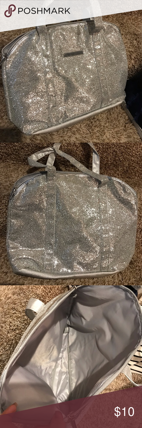"BeautiControl sparkly tote bag Measurements:  17""x12""x5"", 10"" drop handle  Color: silver with sparkles, cross hatch pattern on bottom  New in original packages, no tags  Zipper top, single open pocket beauticontrol Bags Totes #zippertop"