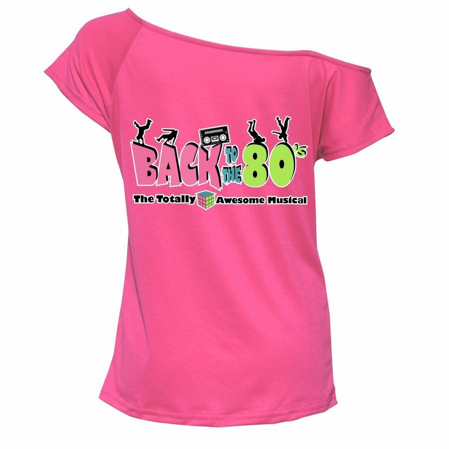 Ladies I Love The 80s T-shirt Top Off Shoulder Retro Party Fancy Outfit 6909Lot