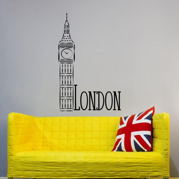 London City Skyline Removable Vinyl Wall Decals Big Ben Clock Vinyl ...