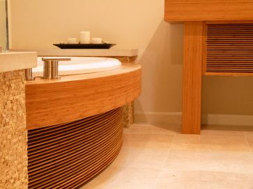 Zen bath and vanity -Clean lines with bamboo create a relaxing retreat in this Asian inspired bath.