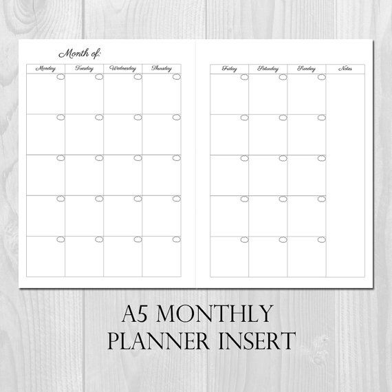 Monthly Planner Printable Insert A5 Size Undated