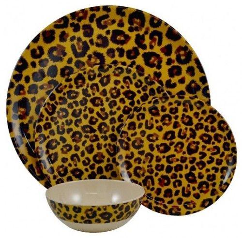 Leopard Animal Print Decor Melamine Dinnerware Sets Eclectic Dinnerware