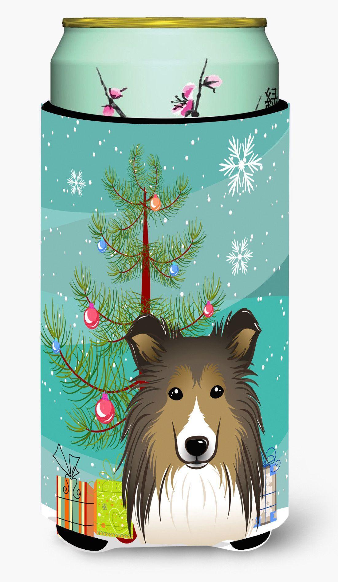 Christmas Tree and Sheltie Tall Boy Beverage Insulator Hugger BB1614TBC