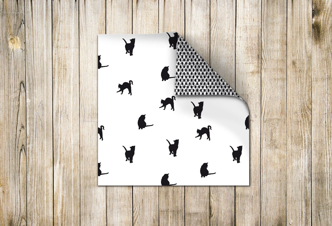 ☁ Designpapier 180 mm x 180 mm Schwarz-Weiss (60315) www.s-chick.de ☁ #papier #scrapbooking #origami #basteln #papierbogen #paper #black #schwarz #cat #katze #muster #pattern #tier #animal