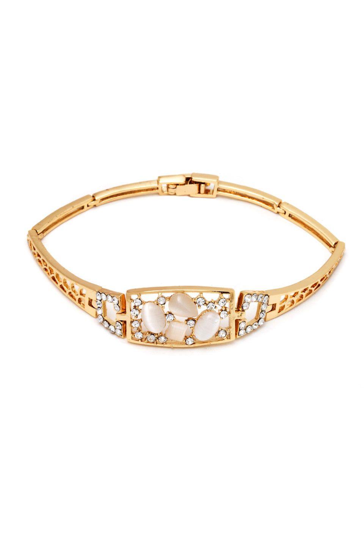 Sevil k gold plated swarovski square bangle bracelet armbÅnd