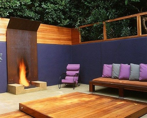 Steel Outdoor Fireplace Outdoor Fireplace Rob Steiner Gardens Los Angeles,  CA