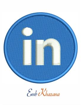 Linkedin logo embroidery design, Linkedin logo machine