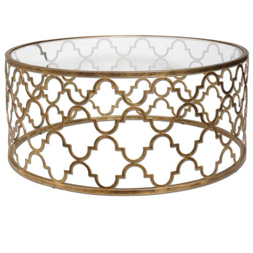 uttermost quatrefoil gold coffee table | quatrefoil, living rooms