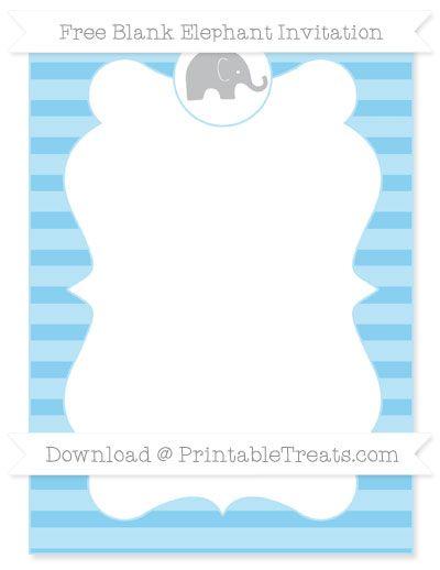 Free Free Baby Blue Horizontal Striped Blank Elephant
