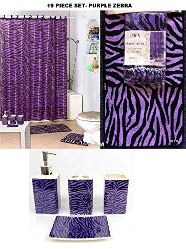 Complete Bath Accessory Set Purple Zebra Printed Bathroom Rugs Shower Curtain