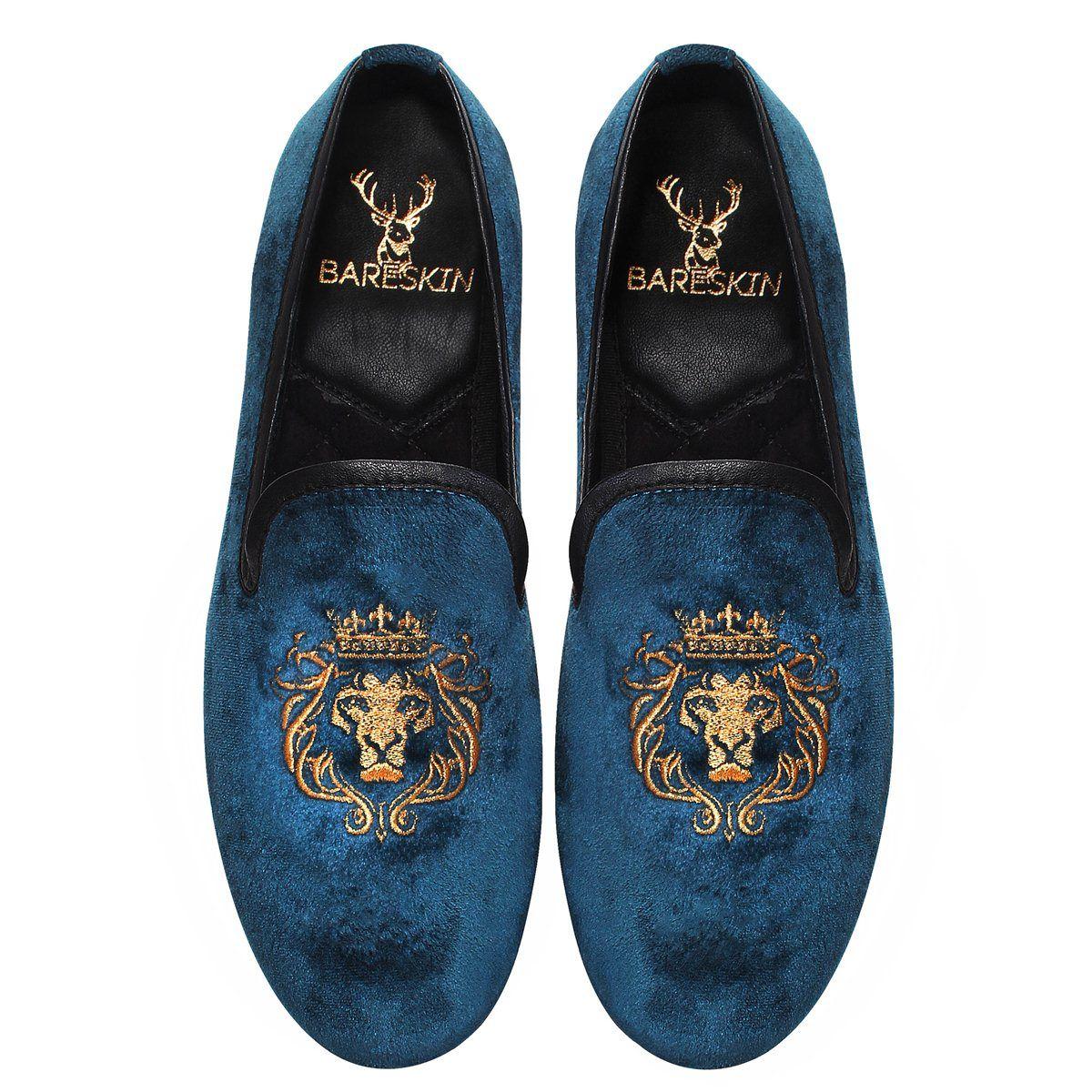 Blue Velvet / Golden Lion King Embroidery Slip-on Shoes by Bareskin
