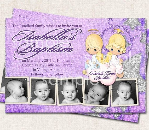 Baptism invitation thank you birth by missbellaexpressions on Etsy