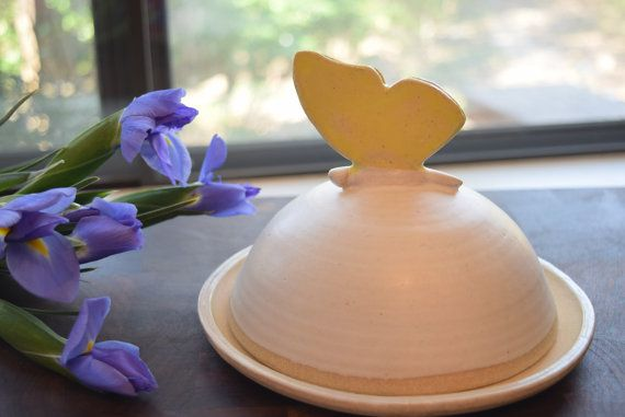 """Pottery """"Butter""""fly Butter Dish with Lid, White and Yellow, Stoneware"""