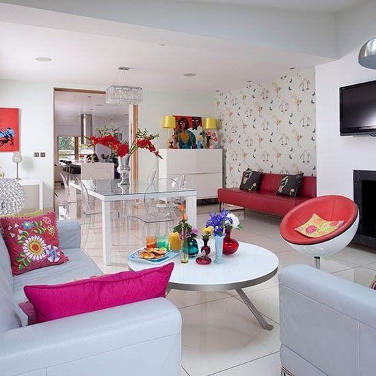 Weiß Wohnzimmer mit rosa Accessoires Einrichtung Pinterest
