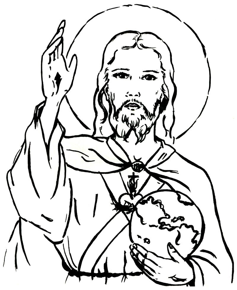 Christ Our King And Savior Catholic Coloring Page Dessins Jesus Coloriage Dessin