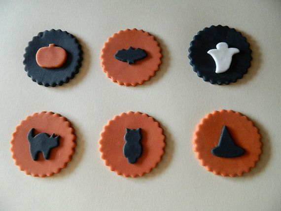 Edible Halloween Fondant Cupcake Toppers (12) Fondant cupcake
