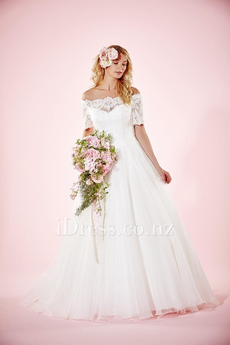 Illusion short sleeve off the shoulder ball gown wedding dress lace