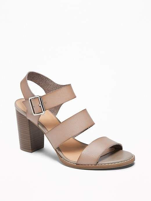 3e40caecf4b Old Navy Women s Three-Strap Block-Heel Sandals Smoky Beige Size 11 ...