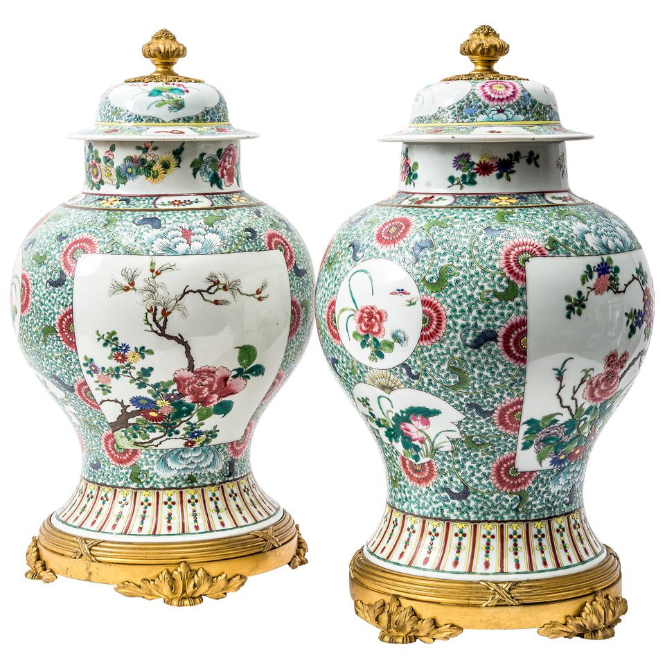 Pair of 19th Century Famille Verte Jars and Covers with French Ormolu Mounts | From a unique collection of antique and modern vases at https://www.1stdibs.com/furniture/dining-entertaining/vases/