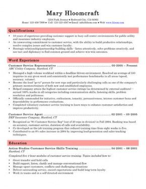 CallCenterCustomerServiceRepresentativeResume  Carrot Cake
