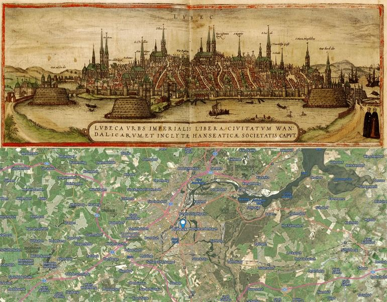Lubeck Germany Map Then And Now OldCities Https - Germany map then and now