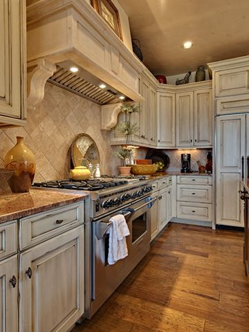 Love Distressed White Kitchen Cabinets With A Black Chunky Island Distressed Kitchen Cabinets Distressed Kitchen Rustic Kitchen Cabinets