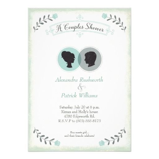 His & Hers Silhouettes Personalized Invites #wedding